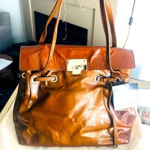 JIMMY CHOO Bronze Patent Leather Gold LG Bag NEW